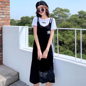 YF48113# 夏装新款大码女装两件套时尚短袖T恤宽松显瘦背带裙套装裙 服装批发女装直播货源