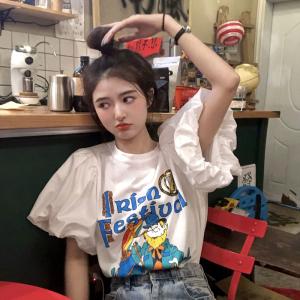 YF51054# 大码卡通印花设计感泡包袖宽松洋气短袖T恤上衣女装 服装批发女装直播货源