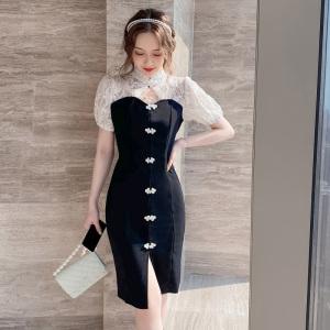 YF50341#  夏季新款法式复古气质改良版旗袍蕾丝拼接中长款连衣裙女装 服装批发女装直播货源