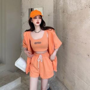 CX6997# 最便宜服服装批发 棉套装女新款夏季外套吊带阔腿短裤网红三件套潮