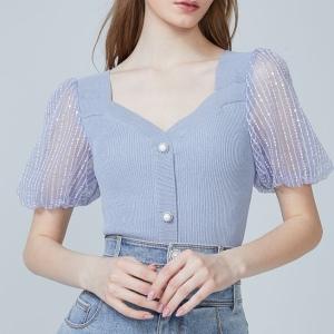 YF58654# 夏季新款时尚蓝紫色曲珠短袖泡泡袖桃心领套头薄款针织衫上衣 服装批发女装直播货源