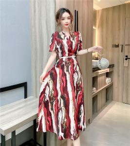 YF47899# 夏季新款时尚印花V领短袖连衣裙优雅礼服裙子 服装批发女装直播货源