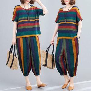YF61160# 人棉套装女时尚洋气夏装新款宽松文艺复古条纹短袖休闲两件套