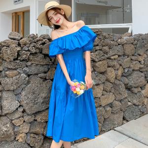 YF48116# 泡泡袖一字方领连衣裙女夏季新款法式复古气质显瘦温柔风长裙 服装批发女装直播货源