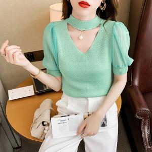 YF57510# 冰丝针织衫女短袖修身设计感小众镂空泡泡袖雪纺上衣 服装批发女装直播货源