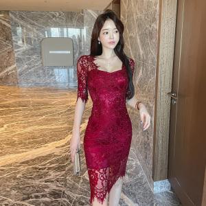 YF49487# 新款韩版蕾丝性感修身连衣裙3个色 服装批发女装直播货源