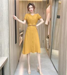 YF47900# 时尚V领收腰短上衣+半身裙气质优雅两件套装 服装批发女装直播货源