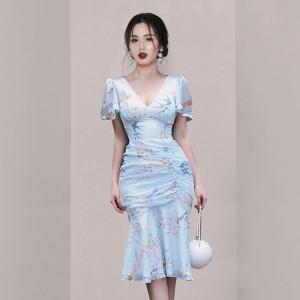 YF52341# 夏季新款韩版气质法式V领褶皱包臀连衣裙 服装批发女装直播货源