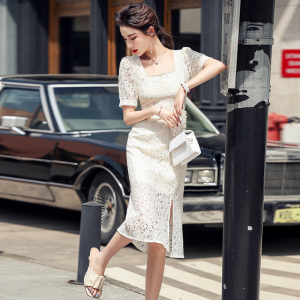 YF48402# 法式复古方领高端镂空蕾丝裙连衣裙气质新款女夏季 服装批发女装直播货源
