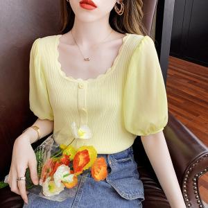 YF57511# 设计感泡泡袖短款女法式花边方领修身针织衫 服装批发女装直播货源