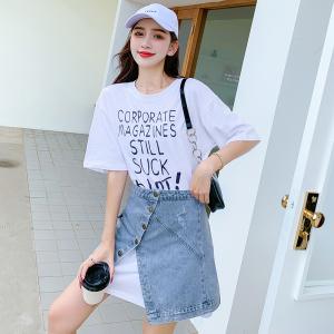 YF48120# 时尚套装女夏装新款宽松ins潮百搭字母T恤牛仔半身短裙两件套 服装批发女装直播货源