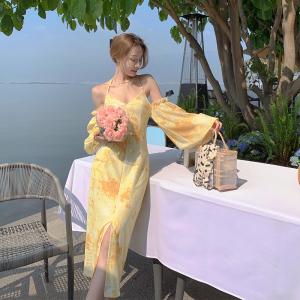 YF70742# 法式优雅V领系脖吊带款连衣裙晚会裙海边度假裙开叉裙 服装批发女装直播货源