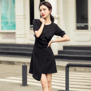 YF48410# ~轻奢法式气质设计感不规则裙夏季新款女修身显瘦连衣裙 服装批发女装直播货源