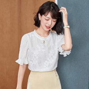 YF51574# 夏喇叭袖短袖雪纺衫女设计感小众甜美洋气上衣 服装批发女装直播货源