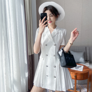 YF52374# 白色西装连衣裙女春夏装新款韩版收腰气质泡泡袖法式减龄裙子
