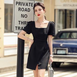 YF50372#  ~显瘦炸街法式系带小黑裙设计感小众方领黑色连衣裙子夏 服装批发女装直播货源