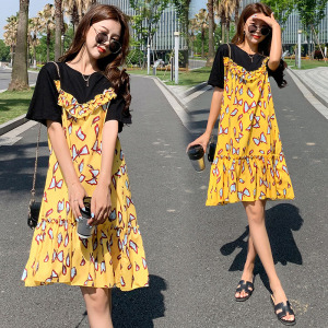 YF48975# 韩国东大门夏季好美的可爱趣味蝴蝶印花荷叶边中裙连衣  服装批发女装直播货源