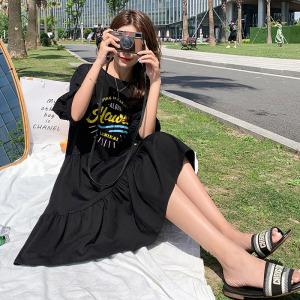YF48976# 韩国东大门法式复古宫廷泡泡袖拼接蕾丝印花T恤大码连衣裙  服装批发女装直播货源