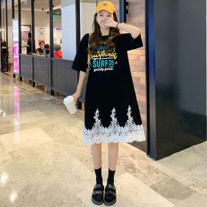 YF48977# 韩国东大门法式重工甜美镂空刺绣蕾丝宽松中长款T恤连  服装批发女装直播货源