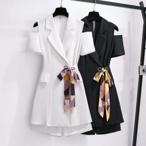 YF48734# 大码女装夏装新款胖MM气质显瘦漏肩西装两件套短裤套装 服装批发女装直播货源