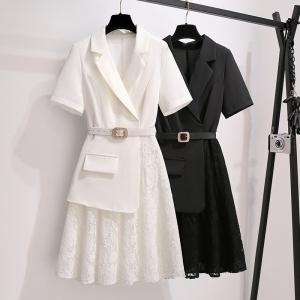 YF48735# 夏季新款大码女装胖MM气质显瘦蕾丝拼接西装连衣裙 服装批发女装直播货源