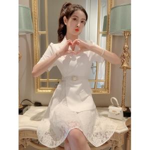 YF48999# 气质御姐白色西装裙女夏季蕾丝拼接裙子收腰轻奢高级设计感连衣裙  服装批发女装直播货源
