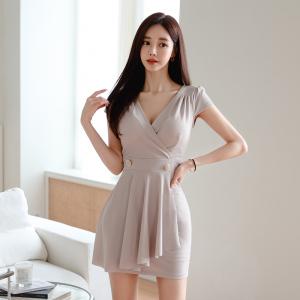 YF49490# 新款韩版性感V领荷叶连衣裙包臀裙 服装批发女装直播货源