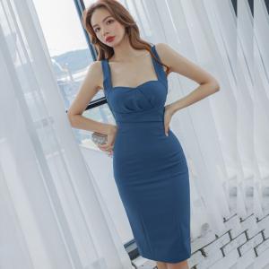 YF49491# 夏装新款韩版性感气质修身中长款吊带拉链包臀连衣裙女 服装批发女装直播货源
