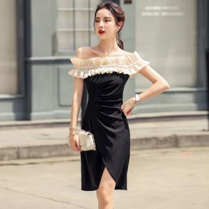 YF49214# 露肩连衣裙女夏季新款性感一字领黑色气质无袖中长裙子 服装批发女装直播货源