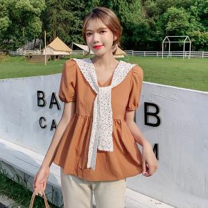 YF52765# V领泡泡袖娃娃衫短袖衬衫小众设计感上衣女夏新款 服装批发女装直播货源