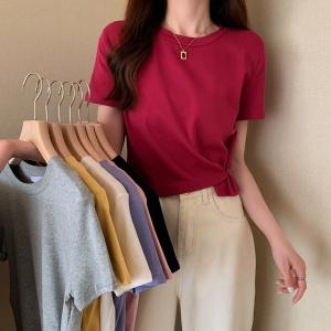 YF49020# 夏季新款韩版高腰短款不规则修身短袖T恤上衣女潮 服装批发女装直播货源