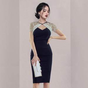 YF52342# 夏季新款韩版气质显瘦蕾丝拼接镂空包臀连衣裙 服装批发女装直播货源