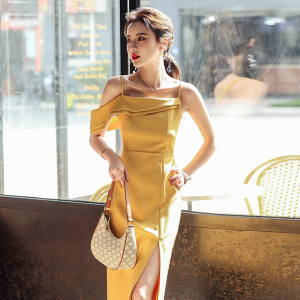 YF49210# 夏季温柔性感裙子单露肩吊带显瘦开叉礼服气质连衣裙 服装批发女装直播货源