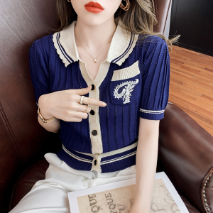 YF57512# 针织短袖上衣新款女夏法式复古小众时尚气质减龄修身针织衫 服装批发女装直播货源