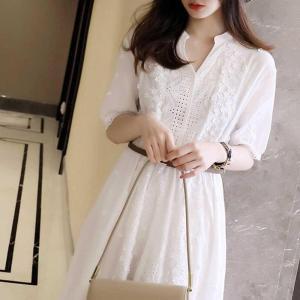 YF49949# 连衣裙纯棉重工刺绣镂空时尚2021夏新款日系女装 白色气质v领短袖