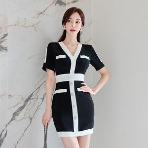 YF49493# 新款韩版2拼色V领直排扣短袖修身连衣裙包臀裙 服装批发女装直播货源