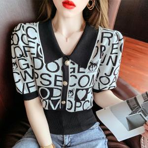 YF54261# polo领短袖针织T恤女夏季新款字母提花冰丝薄款上衣女欧货ins 服装批发女装直播货源