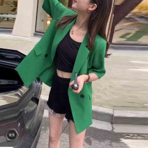 YF58454# 韩版网红同款绿色短袖西装外套女夏季新款时尚百搭小西服女潮 服装批发女装直播货源