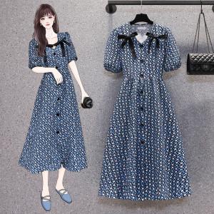 YF65680# 大码女装夏装法式碎花连衣裙胖MM设计感茶歇泡泡袖长裙