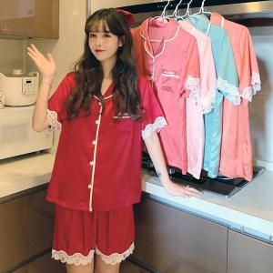 YF49913# 新款冰雪丝开衫睡衣女夏季丝绸短袖短裤纯色蕾丝花边家居服套装 服装批发女装直播货源
