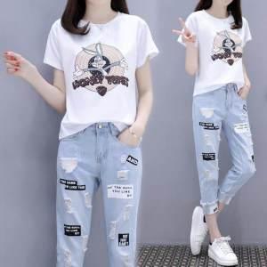 CX6656# 最便宜服装批发 纯棉印花短袖T恤+破洞九分牛仔裤学生套装直简
