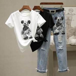 CX6490# 最便宜服装批发 纯棉两件套卡通t恤短袖上衣+破洞牛仔裤九分