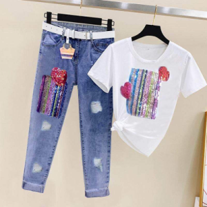 CX6491# 最便宜服装批发 时髦套装女短袖亮片t恤+破洞牛仔裤时尚两件套潮