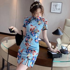 YF50342#  国潮旗袍年轻款新款少女改良中国风连衣裙小个子短款女夏季 服装批发女装直播货源