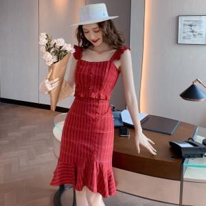YF50343#  减龄套装夏季新款吊带背心短款上衣+高腰鱼尾裙格子半身裙两件套 服装批发女装直播货源
