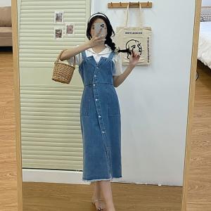 YF52784# 水洗牛仔连衣裙 服装批发女装直播货源