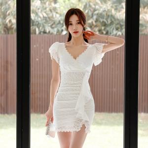YF51338# 夏季新款蕾丝V领修身显瘦荷叶边连衣裙 服装批发女装直播货源
