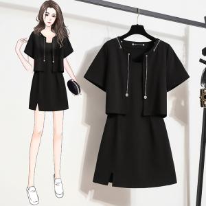 YF62681# 大码女装夏季新款套装胖mm时髦显瘦短袖开衫吊带裙两件套 服装批发女装直播货源