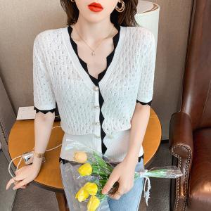 YF57515# 轻松养眼氛围优雅小香双排扣V领提花纹理小泡袖针织衫上衣外套春 服装批发女装直播货源