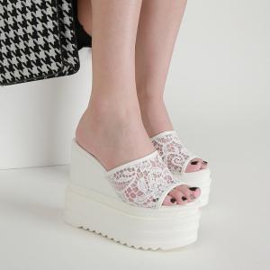 X-25659# 坡跟超同跟蕾丝网纱一字拖鞋34-40码 鞋子批发女鞋货源